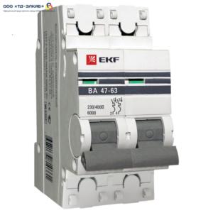 Авт. выкл. ВА 47-63 EKF PROxima 2P 20А (C) 6кА