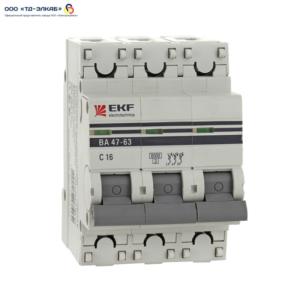 Авт. выкл. ВА 47-63 EKF PROxima 3P 16А (C) 6кА