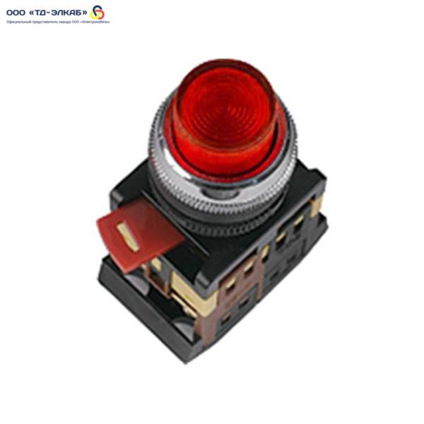 Кнопка ABLFP-22 красный d22мм неон/240В 1з+1р ИЭК