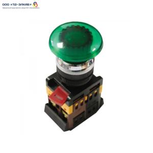 """Кнопка AELA22 """"Грибок"""" зеленый d22мм неон/240В 1з+1р ИЭК"""