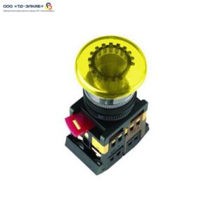 """Кнопка AELA22 """"Грибок"""" желтый d22мм неон/240В 1з+1р ИЭК"""