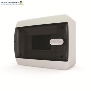 Щит навесной 6 мод. IP41, прозрачная черная дверца