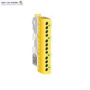 Шина изолированная сечение 6х9, 12 отв., крепление на DIN-рейку и поверхность, желто-зел.