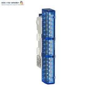 Шина изолированная сечение 6х9, 16 отв., крепление на DIN-рейку и поверхность, синяя