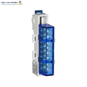Шина изолированная сечение 6х9, 8 отв., крепление на DIN-рейку и поверхность, синяя