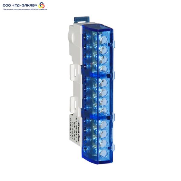 Шина изолированная сечение 8х12, 12 отв., крепление на DIN-рейку и поверхность, синяя