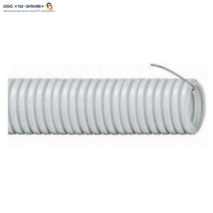 Труба ПВХ серая гофрированная с зондом 32 мм (50 м/упак)