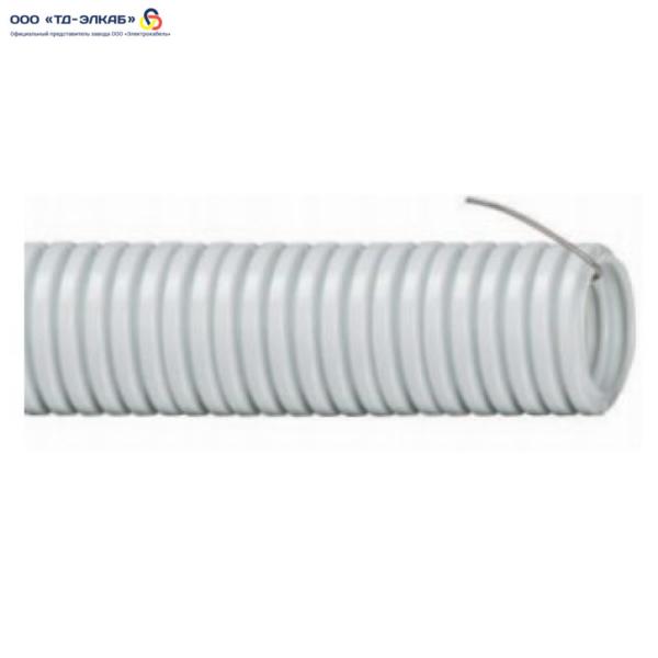 Труба ПВХ серая гофрированная с зондом 40 мм (25 м/упак)